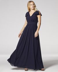 Vince Camuto Flutter-sleeve Gown - Blue