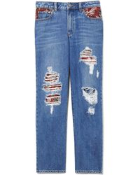 Vince Camuto Tapestry-patchwork Straight-leg Jeans - Blue