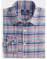 Vineyard Vines Slim Fit Plaid Shirt In Island Twill - Blue