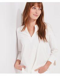 Vineyard Vines Seersucker Harbor Savannah Popover Blouse Shirt - White