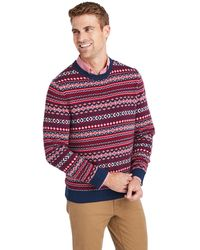 Vineyard Vines Traditional Fair Isle Crewneck Sweater - Red