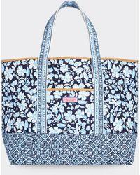 Vineyard Vines Hibiscus Floral Mix Print Tote Bag - Blue