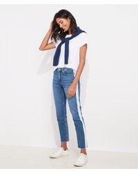 Vineyard Vines Limited-edition Jamie High-rise Straight Crop Bleach-stripe Jeans - Blue