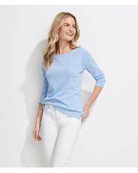 Vineyard Vines Striped Simple Boatneck Long-sleeve T-shirt - Blue