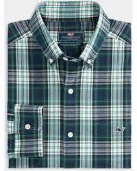 Vineyard Vines Classic Fit Poplin Tucker Button Down Shirt - Green