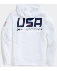 Vineyard Vines Usa Long-sleeve Hoodie Performance Harbor T-shirt - White