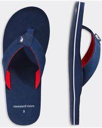 Vineyard Vines Pop Stripe Leather Flip Flops - Blue
