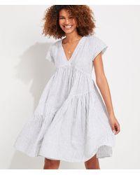 Vineyard Vines Jet Stripe Neck Tiered Linen Dress - White