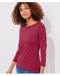 Vineyard Vines Lightweight Striped Sankaty Simple Boatneck Long-sleeve T-shirt - Red