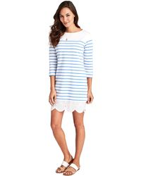 Vineyard Vines Long-sleeve Stripe Knit Lace Hem Dress