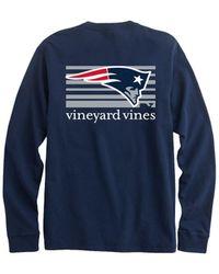 Vineyard Vines New England Patriots - Nfl Long-sleeve Block Stripe T-shirt - Blue