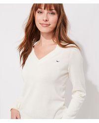 Vineyard Vines Lurex Heritage Cotton V-neck Sweater - White