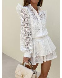 Vita Grace Romance Lace Frill Cardigan - White