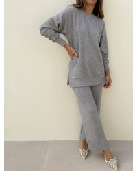 Vita Grace Chryssie Knitted Pant Suit - Grey