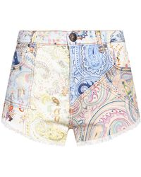 Etro Printed Denim Shorts Multicolour - Blue