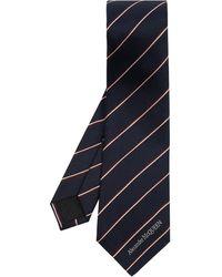Alexander McQueen Silk Tie With Logo - Blue