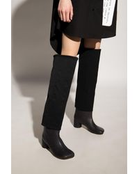 MM6 by Maison Martin Margiela Leather Boots - Black