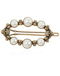 Alexander McQueen Pearl-embellished Brooch - Metallic
