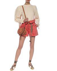 Ulla Johnson High-waisted Denim Shorts Orange