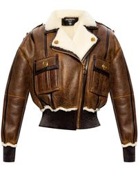 Balmain Leather Jacket Brown