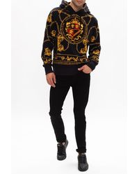 Versace Jeans Couture Patterned Hoodie Black