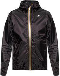 K-Way Jacket With Logo Applique - Black