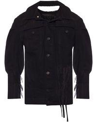DIESEL Denim Jacket With Rips Black