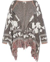 See By Chloé See By Chloé Fringe-trimmed Jacquard-knit Poncho Mushroom - Multicolour