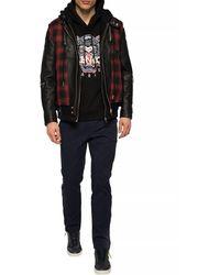 DIESEL Hooded Leather Jacket Black