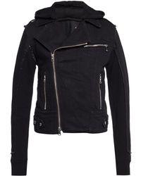 Balmain Hooded Denim Jacket - Black