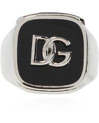 Dolce & Gabbana Ring With Logo - Metallic