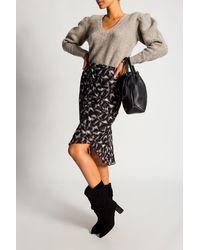 IRO Patterned Skirt With Gathers - Black