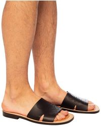 Loewe Mules With Perforated Logo Multicolour - Black