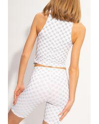 MISBHV 'reflective Monogram Lara' Bodysuit White