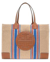 Tory Burch Ella Linen Stripe Tote Bag - Multicolour