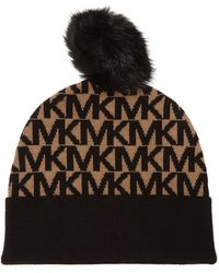 Michael Kors Patterned Hat With Pompom - Brown
