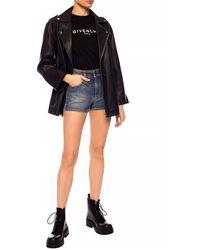 Givenchy Stonewashed Denim Shorts Blue
