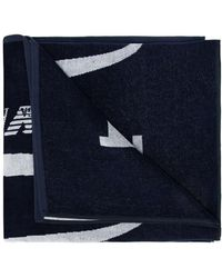 Emporio Armani Towel With Logo Unisex Navy Blue