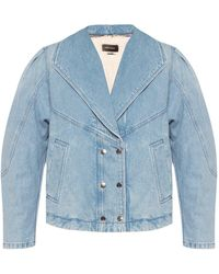 Isabel Marant Denim Jacket With Faux Fur Lining - Blue