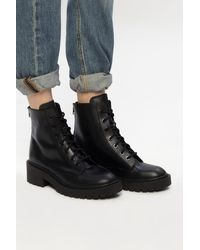 KENZO Heeled Leather Ankle Boots - Black