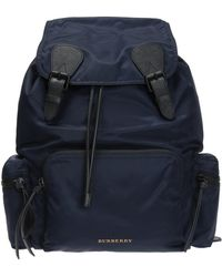 Burberry - The Large Rucksack In Technical Nylon And Leather Ink Blue - Lyst