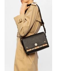 Burberry Leather And Vintage Check Note Crossbody Bag - Black