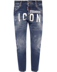DSquared² 'cool Girl Cropped Jean' Distressed Jeans - Blue