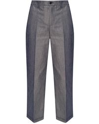 Agnona Pleat-front Trousers Navy Blue