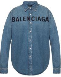 Balenciaga Branded Denim Shirt Blue