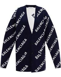 Balenciaga Cardigan With Logo - Blue
