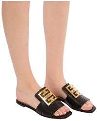 Givenchy Slides With Metal Logo - Multicolour