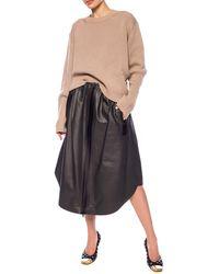 Bottega Veneta Leather Skirt Gray