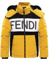 Fendi Quilted Down Jacket - Yellow