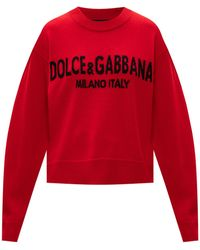 Dolce & Gabbana Cashmere Jumper With Logo - Red